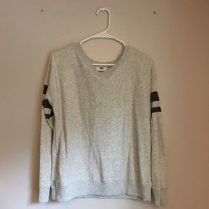 Womens Gray Old Navy Crewneck with Varsity Stripes